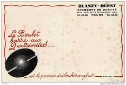 CHARBONS DE QUALITE -  BLANZY OUEST  à TOURS  -   BUVARD PUBLICITAIRE - Buvards, Protège-cahiers Illustrés