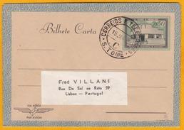 1952 - Entier Postal Aérogramme De Sao Tomé Vers Lisbonne - Madalena Bureau De Poste Et De Téléphone - St. Thomas & Prince