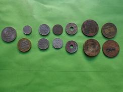 Lot Pieces-commerce Industrie 1923--napoleon III Dont 1 Rare Pièce De 10 Centimes Napoleon III Tete Laurée 1862 + Etc... - Monnaies