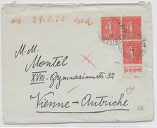 """1932 - SEMEUSE Avec BANDE PUB """"BENJAMIN"""" ISUUE De CARNET Sur LETTRE De MONTMORENCY => WIEN (AUTRICHE) - Advertising"""