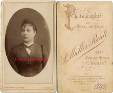 CDV En 1892-femme à La Coiffure étudiée-photo Muller-Rault à Paris Rue De Rivoli - Photos