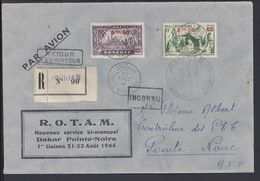 """A.O.F - Enveloppe Recommandée """" Rotam Nouveau Service Bi-Mensuel Dakar Pointe-Noire - 1ère Liaison """" Avec Contrôle De... - Lettres & Documents"""