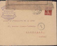 Guerre 14/18 YT 138 Semeuse Thonon Les Bains Haute Savoie Censure - Marcophilie (Lettres)