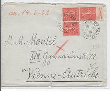 """1932 - SEMEUSE Avec BANDE PUB """"VICHY"""" ISUUE De CARNET Sur LETTRE De MONTMORENCY => WIEN (AUTRICHE) - Advertising"""