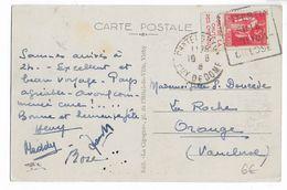 """1936 - PAIX Avec BANDE PUB """"CHUTE DES CHEVEUX"""" ISSUE De CARNET Sur CP De CHATELGUYON (PUY DE DOME) DAGUIN => ORANGE - Advertising"""