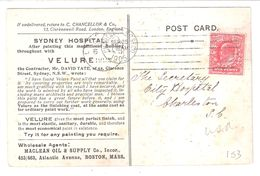 THE HOSPITAL SYDNEY NSW AUSTRALIA PRODUCED IN ENGLAND ? USED 1905 SENT TO THE USA !! - Sydney