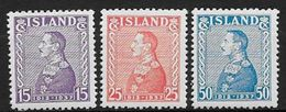 Islande 1937 N°164A/166A  Neufs ** MNH.  Jubilé Du Roi Christian X, Issus Du Bloc - Neufs