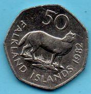 C3/ FALKLAND ISLANDS  50 Pence 1982 Fox (extinct)  Km#14 - Falkland Islands