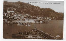 (RECTO / VERSO) MONTE CARLO EN 1932 - N° 95 - L' ENTREE DU PORT ET LE TIR AUX PIGEONS - BEAU CACHET - CPA - Harbor