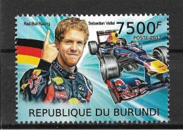 Burundi Sebastian Vettel Germany Formula 1 F1 Car Racing 1v Stamp MNH - Non Classificati