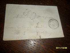 1869 - YONNE !! -Lettre TAXEE -IND/13 ****- OBL/C.a.Date PERLEE  **** CUSSY LES FORGES-2 Photos - Marcophilie (Lettres)