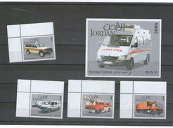 Jordan 2006 - Rescue Cars (firefighters, Police, Ambulance), Set Of 4 Stamps + S/S, MNH - Auto's