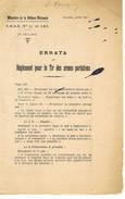 Errata Au Reglement Pour Le Tir Des Armes Portatives 4 Blz - Libri, Riviste & Cataloghi