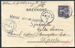 1934 Sweden Konkursdomaren, Katrineholm Printed Postcard - Uppsala Redirected. 'RETUR AVSANDAREN' - Lettres & Documents