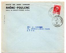 RHONE - Dépt N° 69 = SAINT FONS 1942 =  CACHET MANUEL A4 + En-tête RHONE-POULENC - Postmark Collection (Covers)