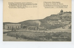 Sommet Du PUY DE DOME - Menu Du RESTAURANT DE LA GARE Et Horaire Des Trains - France