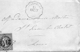 """Convoyeur Station """"MAC LY / COLLONGES """"+G C 2145 LYON Sur N°29, Avec Correspondance De COUZON Du 21.5.1870 - Postmark Collection (Covers)"""