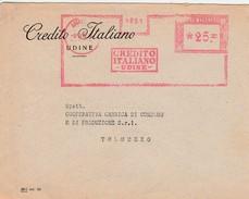 Italie EMA Sur Lettre D'Udine - 1900-44 Victor Emmanuel III.