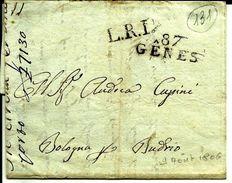 Lettre Année 1806 LRI 87 Gene Departement Conquis Italie  Pour  Bologna  N°131 - Storia Postale