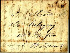 Lettre Année 1807  86 Binch Belgique Departement Conquis Pour Bordeaux  ?  N°133 - Poststempel (Briefe)