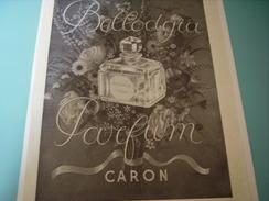 ANCIENNE PUBLICITE PARFUM BELLODGIA CARON  1933 - Fragrances