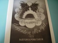 ANCIENNE PUBLICITE PARFUM ALPONA CARON  1939 - Fragrances
