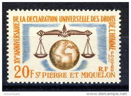 S. Pierre Et Miquelon 1963 N. 370 Fr. 20 Diritti Dell'uomo MlH Catalogo € 8,10 - St.Pierre & Miquelon