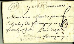 Lettre Année 1744 PARIS Pour Faucogney Par Vezoul  N°138 - Marcophilie (Lettres)