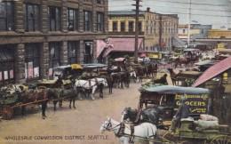 Seattle Washington, Wholesale Commission Ditrict Delivery Wagons, West Seattle Ferry Building, C1900s Vintage Postcard - Seattle