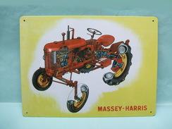 Atlas - PLAQUE EMAILLEE TOLE Métal Tracteur Massey Harris 28,5 X 21cm NEUF - Plaques Publicitaires