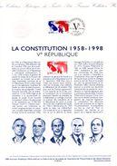 """FRANCE 1998 : Document Philatélique Officiel """" 60 ANS DE LA CONSTITUTION """" N° YT 3195. DPO - De Gaulle (General)"""