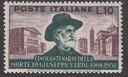 Italia - 1951 - Giuseppe Verdi 10 Lire, Dentellatura 14 X 13 ¾ Pettine Alto ** - 6. 1946-.. Repubblica