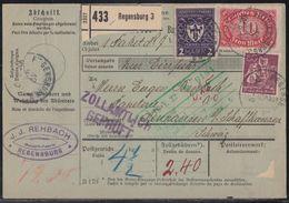 DR Paketkarte Mif Minr.122,165,175,3x 176a,200a Regensburg 12.5.22 Gel. In Schweiz Geprüft - Germany