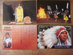 Lot De 4 Cartes D' INDIEN - INDIAN --- Indian Chef - Indian Symbol - Apache Indian Ritual - Indiens De L'Amerique Du Nord