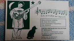 CPM PIERROT CHAT PRETE MOI TA PLUME POUR L ESPERANTO CP ET BROCANTE R ET N LEBRUN PRESSAGNY L ORGUEILLEUX EURE - Esperanto