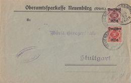 DR Brief Mif Minr.D53,D56 Neuenburg 17.8.20 Gel. Nach Stuttgart - Dienstpost