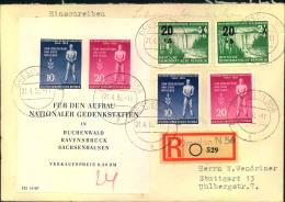 1955, Gedenkstättenblock Mit Zusatzfrankatur Auf R-Brief Ab DRESDEN N 56 - DDR