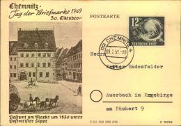 """1951, Sonderkarte Zum """"""""Tag Der Briefmarke"""""""" 1949 Mit Entsprechender Marke. Bedarf Ab CHEMNITZ - DDR"""