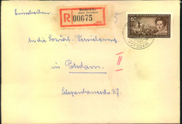 1955, 60 Pfg. Rosa Luxemburg Als EF Auf Einschreiben Ab REHBRÜCKE über POTSDAM - DDR