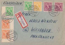 AM-Post R-Brief Mif Minr.2x 3,4,2x 5,2x 7 Kirchheim (Teck) 28.12.45 - Bizone
