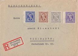 AM-Post R-Brief Mif Minr.1,2,6,9 Obertraubling über Regensburg - Bizone