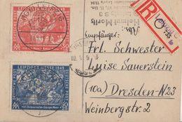 SBZ R-Karte Mif Minr.230,231 SST Leipzig 8.3.49 Gel. Nach Dresden - Sowjetische Zone (SBZ)