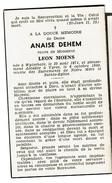 Souvenir Pieux, Anaise DEHEM (L. Moens), Wytschate 1871 / Ypres 1950 - 2 Scans - Images Religieuses