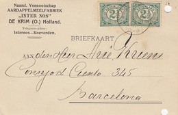 PAYS-BAS - BRIEFKAART 1908 TO BARCELONA /1 - Periode 1891-1948 (Wilhelmina)