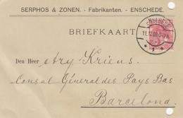 PAYS-BAS - BRIEFKAART 1908 ENSHEDE  TO BARCELONA /1 - Periode 1891-1948 (Wilhelmina)