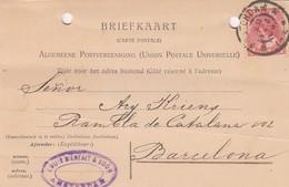 PAYS-BAS - BRIEFKAART 1906 AMSTERDAM TO BARCELONA - LOUIS BIENFAIT & SOON/1 - 1891-1948 (Wilhelmine)