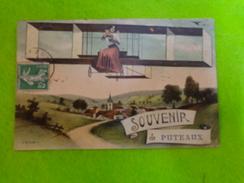Cp Souvenir De Puteaux (avion) Timbre A 5c + Au Verso Timbre Taxe 10 C A Recevoir - Puteaux
