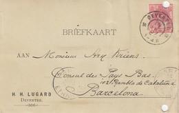 PAYS-BAS - BRIEFKAART 1907 DEVENTER TO BARCELONA /1 - Periode 1891-1948 (Wilhelmina)