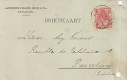 PAYS-BAS - BRIEFKAART 1906 ROTTERDAM TO BARCELONA /1 - Periode 1891-1948 (Wilhelmina)
