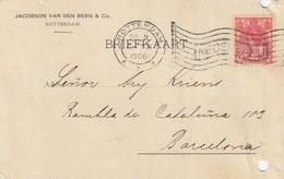 PAYS-BAS - BRIEFKAART 1906 ROTTERDAM TO BARCELONA /1 - Periodo 1891 – 1948 (Wilhelmina)